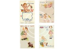 Baby Button Cards Vintage Baby and Children Instant Download by sssstudio