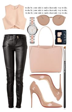 """""""Heavenly"""" by cherieaustin ❤ liked on Polyvore featuring Marc by Marc Jacobs, Balmain, Finders Keepers, Christian Louboutin, Valextra, MAC Cosmetics, NARS Cosmetics and Linda Farrow Luxe"""