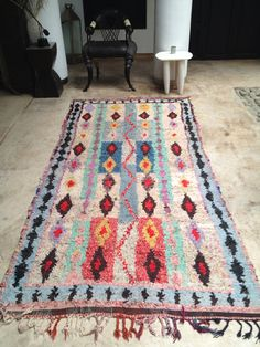 Vintage Moroccan rug Boucherouite by BazaarLiving on Etsy