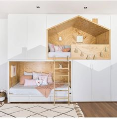 Did you share a room as a kid? Do your little ones share? My little girls are in bunk beds. And I love that they have their special space… Kids Bedroom Designs, Home Room Design, Kids Room Design, Small Childrens Bedroom Ideas, Creative Kids Rooms, Cool Kids Rooms, Baby Room Decor, Kid Decor, Nursery Decor