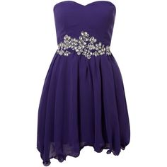 AX paris Jewelled strapless chiffon dress ($29) ❤ liked on Polyvore featuring dresses, vestidos, robes, short dresses, purple, strapless cocktail dress, purple dress, cocktail party dress, chiffon cocktail dress and holiday cocktail dresses