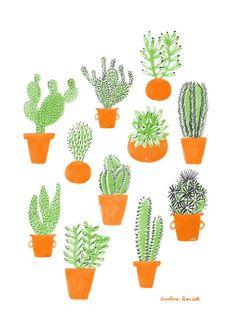 Cacti Family by  Caroline Dowsett