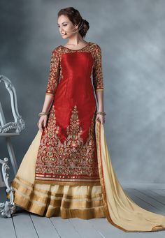 Red and Light Beige Art Silk and Faux Georgette Lehenga Kameez with Dupatta: LBF1