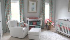Vibrant Gray, Aqua and Coral Nursery