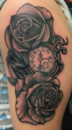 Pocket watch and Roses Tattoo by Browns Tattoos www.brownstattoos.co.uk