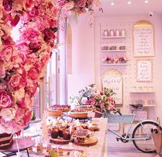 is what cake display dreams are made of. When I find myself in London town I am definitely stopping by. My Coffee Shop, Coffee Shop Design, Cake Shop Design, Store Design, Cafe Interior Design, Cafe Design, Pastry Shop Interior, Pink Cafe, Flower Cafe
