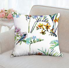 flowers pillow birds pillow cushion cover bird cushion