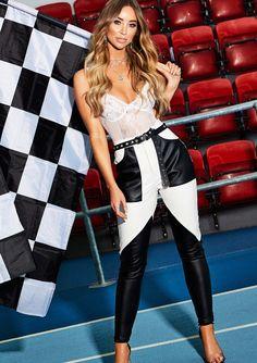 e9513cd661 Missyempire - Faye White Faux Leather Panel Trousers Lauren Pope