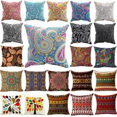 Woven Linen Geometric Cushion Cover Sofa Car Home Decorative Throw Pillow Bohemia Paisley Style SIZE Cojines Cushion Inserts, Sofa Cushion Covers, Cushions On Sofa, Paisley, Car Sofa, Geometric Cushions, Indian Tapestry, Textiles, Bohemian Style