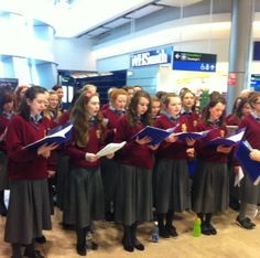 Students from Portmarnock Community School entertaining passengers in T2 for St. Patrick's Day weekend celebrations (March 2012)