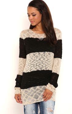 Deb Shops Long Sleeve Rugby Striped Pullover Cable Knit Sweater $14.75