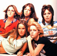 The Runaways line-up of Sandy West, Lita Ford, Jackie Fox, Cherie Currie and Joan Jett...