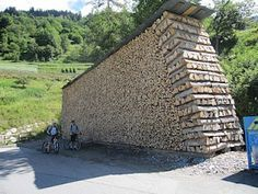 Incredible log pile completely dwarfs kids on bikes