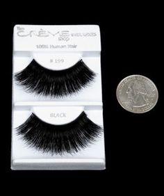 Crème Eyelashes #199 Black 100% Human Hair Long Thick Extension Make Up Cosmetic
