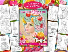 👏Coloring book Sweet dreams.Grayscale.  Available on Amazon http://www.amazon.com/dp/1973879263 Price  $7.68 Includes TWO full sets of the 23 amazing illustrations. And BONUS 7 pictures from Alena Lazareva's other coloring books.   * Page size is 8.5x11inches.   * Pages printed on one side only.  *Two Copies of Every Image: Share with a family member, color with a friend. Enjoy coloring your favorite images a second time. Have an extra copy in case you make a mistake.