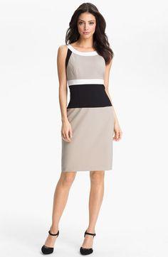 Calvin Klein Colorblock Sheath Dress (Petite) available at Office Fashion, Work Fashion, I Dress, Sheath Dress, Nude Dress, Casual Dresses, Dresses For Work, Calvin Klein, Professional Look