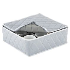 Grey Quilted Cup Storage Case
