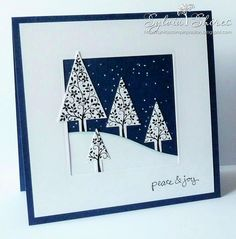 The first card is made with The Festival of Trees stamps and punch bundle, Falling snow added to the sky with a white gel pen. Sentim...