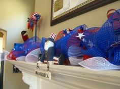 decorate+with+deco+mesh+4th+of+July | 4th of july mantle decor with deco mesh 4th of july mantle decor by ...