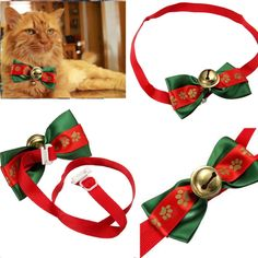 cool Cute Dog Cat Pet Bow Tie Adjustable Necktie Collar Clothes Bowtie Christmas Bell