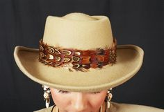 Western Hat Bands for Hats | Beige Feather Band Hat