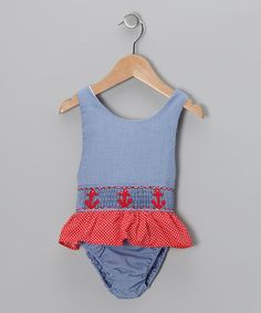 Take a look at this Blue Anchor Sunsuit - Toddler & Girls by Sweet La Tea Da on #zulily today!