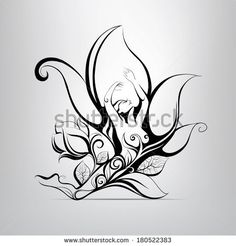 Find Girl Flower Vector Illustration stock images in HD and millions of other royalty-free stock photos, illustrations and vectors in the Shutterstock collection. Drawings To Trace, Dark Art Drawings, Illustration Blume, Graphic Illustration, Fairy Wing Tattoos, Druid Symbols, Fairy Drawings, Fairy Tattoo Designs, Nature Sketch