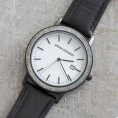 Gibeon Meteorite Wristwatch, Matte Black Metal Watch With Black Leather Strap-JE1003-4