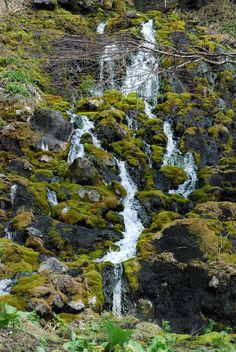 Yu no taki (hot spring waterfall), Akan National Park, Hokkaido, Japan.