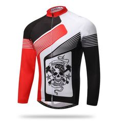 Men's Black And Red Skull Long Sleeve Cycling Jersey #Cycling #CyclingGear #CyclingJersey