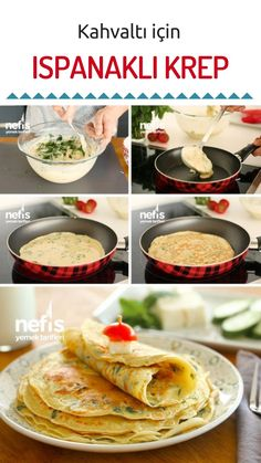kolaj foto Crepes, Turkish Recipes, Ethnic Recipes, Breakfast Items, Recipies, Food And Drink, Pizza, Mexican, Dishes