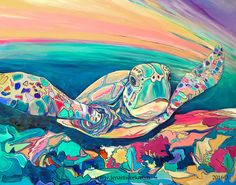 """""""Rainbow Turtle""""-$1400.00 Original Painting by Jen Callahan. This painting was done on a 30""""x 40"""" gallery wrapped stretched canvas with 1 1/2"""" sides. The sides of the canvas are painting. My canvas pa"""