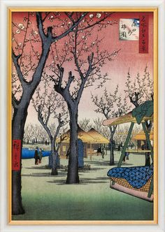 """Ando Hiroshige: Painting """"Plum Orchard in Kamata"""" (1856-1858) in frame"""