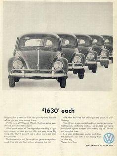 1960s Volkswagen ad ~  $1630 dollars each