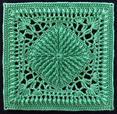 Reminds me of The Green Man - afghan block by Joyce Lewis