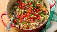 One-Pot Pizza Quinoa with Sausage, Onion and Pepper - all of your favorite pizza flavors come together with quinoa in one pot for a delicious and protein-packed dinner.