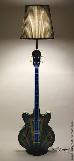 Floor-lamp Guitar / Освещение ручной работы. Торшер Бас Гитара Rock Star. WOODANDROOT. Интернет-магазин Ярмарка Мастеров. Торшер, переделка, гитара