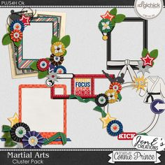 Martial Arts - Cluster Pack by JenE, created using Martial Arts by Connie Prince. Includes 5 cluster images saved in PNG format. Shadows ARE included. Scrap for hire / others ok.