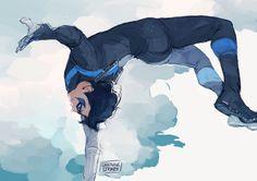 Nightwing by Lightning Strikes. Nightwing, Batgirl, Batwoman, Heros Comics, Dc Comics Characters, Dc Heroes, Marvel Comics, Teen Titans, Richard Grayson