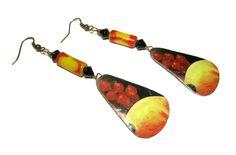 Recycled handmade tin earrings Copper wire Handmade glass