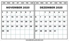 Kalender November 2020 bis Januar 2021 Mit Feiertagen ...