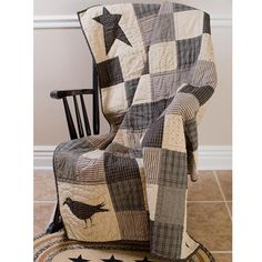 """Delectably Yours Kettle Grove Crow and Star Patchwork Quilted Throw 50"""" x 50"""" by Victorian Heart Includes a 2"""" rod pocket top for ease in hanging on your wall for display. #Quilt #Quilts #Country #Primitive #Home #Decor #DelectablyYours"""