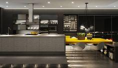 Cozinha Marel - Branco, preto, grafite, fórmica amarela, concrete e vidro espelho #furniture #decor #architecture #designdeinteriores #interiordesign #kitchen