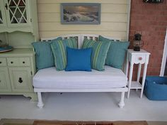 Turn an old crib into a bench! And the mattress is already waterproof! Now why didn't I think of that?