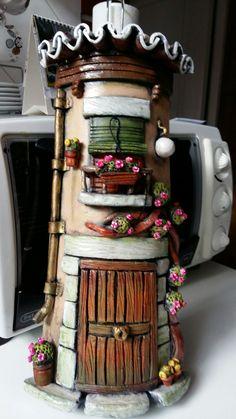 Tile Crafts, Diy Home Crafts, Wooden Crafts, Fun Crafts, Clay Crafts, Clay Houses, Miniature Houses, Wine Bottle Crafts, Bottle Art