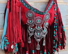 Boho bag valentines day gift boho hippie bag fringe bag boho fringe bag embellished bag hippie purse colorful purse coachella bag 2019 Red and turquoi. Boho Hippie, Hippie Purse, Hippie Bags, Boho Bags, Hippie Style, Bohemian Style, Fringe Purse, Fringe Bags, Coachella