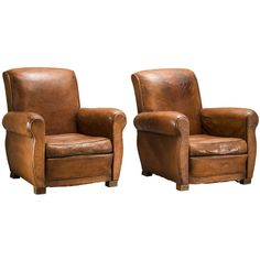 Art Deco French Leather Armchairs