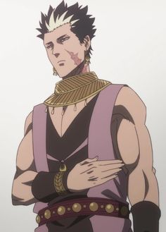 Gadjah 「ガジャ Gaja」 is a Spirit Guardian of the Heart Kingdom. Gadjah is a tall, muscular man with spiky, black hair and a white patch above his forehead. Black Clover Wiki, Black Cover, Muscular Men, Black Hair, Otaku, Fandoms, Fictional Characters, Art, Men's