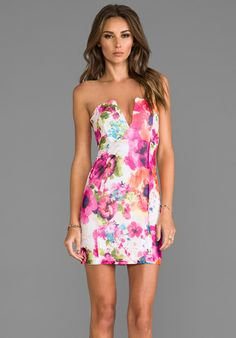 NOOKIE V-Front Bustier Dress in Flowerpop/White
