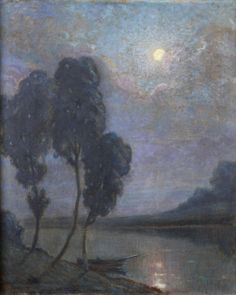 Maurice Chabas (French, 1862-1947), L'étang au clair de lune. Oil on canvas, 74 x 60 cm.